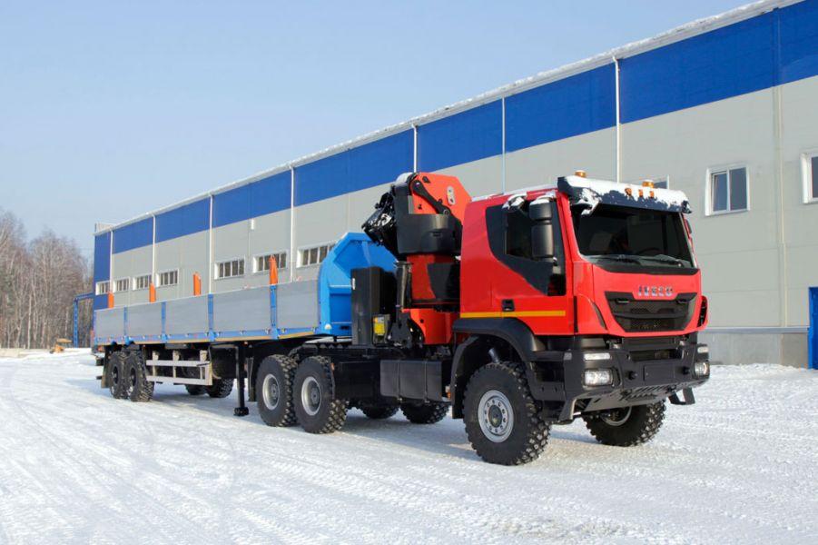 Длинномер-вездеход IVECO 12 метров с манипулятором
